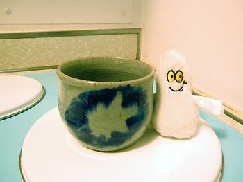 Pot avec déco feuille